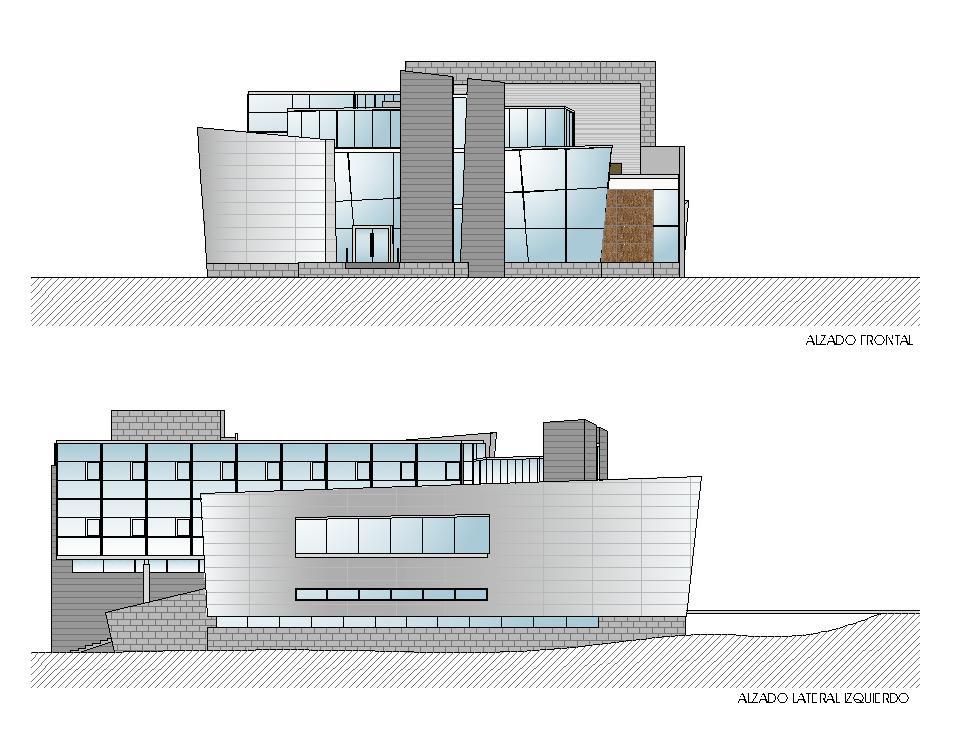 Alzados frontal y lateral izquierdo - Casa de la Cultura de Castro