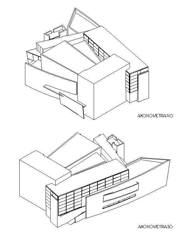 Axonometrías SO y NO - Casa de la Cultura de Castro