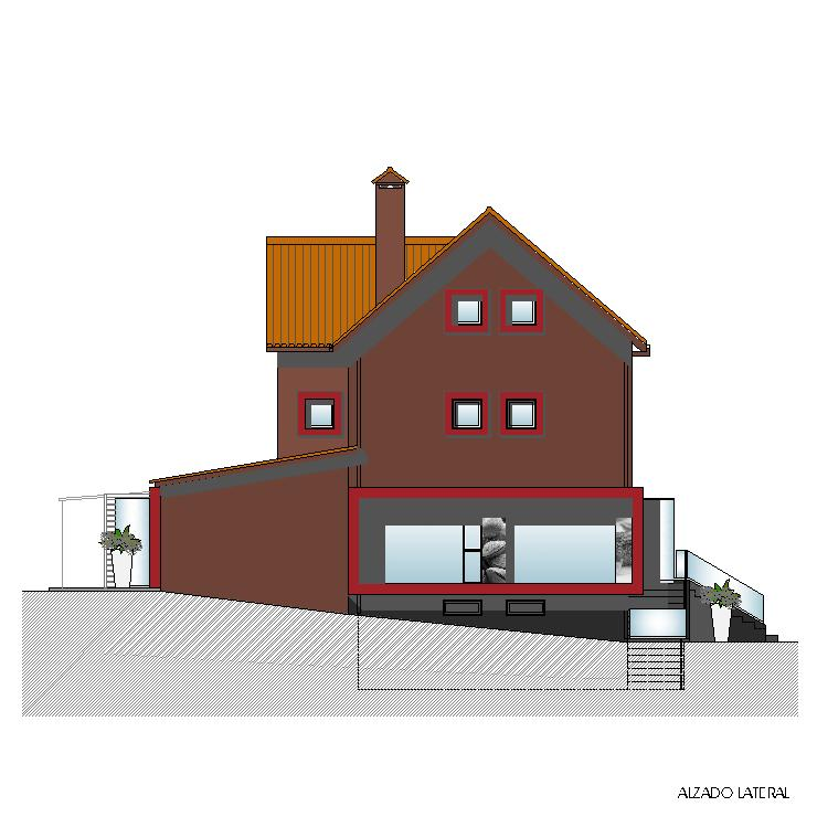 Alzado lateral - Casa Tito