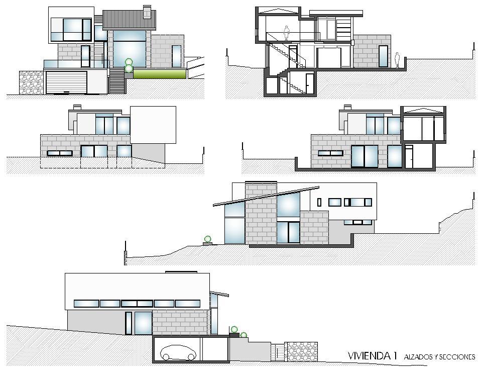 Viviendas unifamiliares en lourenci o viv 1 alzados y - Planos de viviendas unifamiliares ...