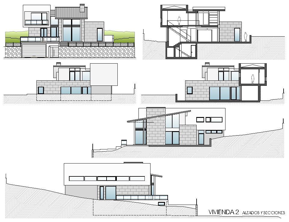 Viviendas unifamiliares en lourenci o viv 2 alzados y - Alzado arquitectura ...