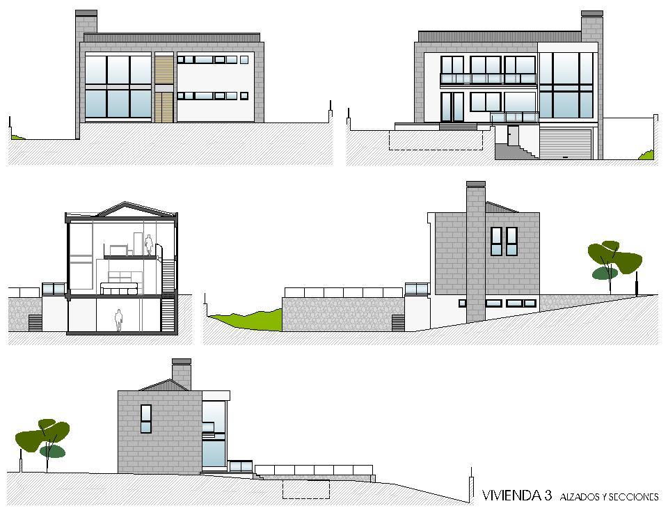 Viviendas unifamiliares en lourenci o viv 3 alzados y - Proyectos de viviendas unifamiliares ...